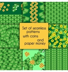 Set of seamless patterns with coins and paper vector