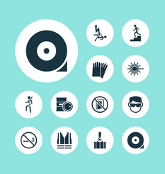 Sign icons set with risk chemical storage vector