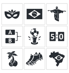 Soccer icon collection vector image vector image