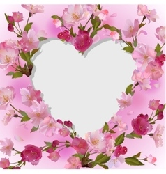 Spring background with heart in flowers vector image vector image