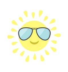 Sun shining icon sun face with pilot sunglassess vector