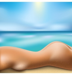 sunbathing woman vector image vector image