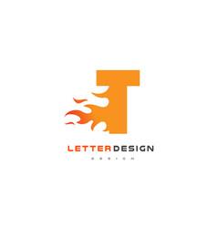 t letter flame logo design fire logo lettering vector image vector image
