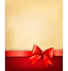 Vintage background with red gift bow and ribbon on vector