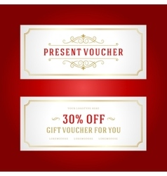 Voucher template with vintage ornament design vector image