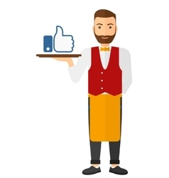 Waiter with like buttone vector image