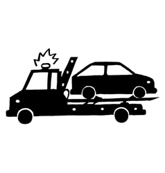 Wrecker with car vector