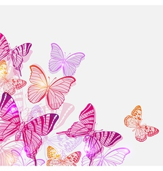 Pink and violet butterflies vector image