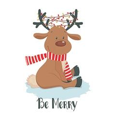 Christmas deer cute reindeer on a white background vector