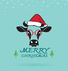 Cow and santa hats vector image