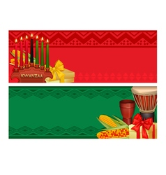 Kwanzaa holiday celebration colorful banners set vector