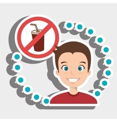Man cartoon fast food prohibited vector