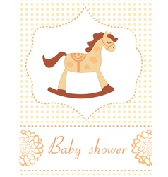 Baby shower rocking horse vector image