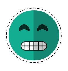 cartoon grimacing face emoticon vector image