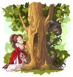Beauty and the beast fairy tale vector