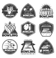monochrome bowling labels set vector image