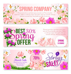 Spring sale holiday shopping floral banners vector