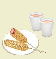 Hot coffee in disposable cup with corn dog vector