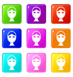 Face marked out for cosmetic surgery icons 9 set vector