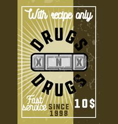 color vintage drugs banner vector image