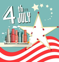 4 th July Title with American Flag - Independence vector image