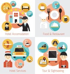 Hotel accommodation services set vector