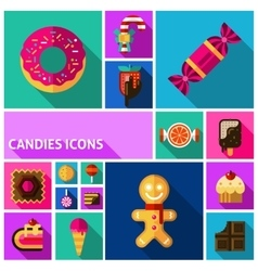 Candy icons set vector