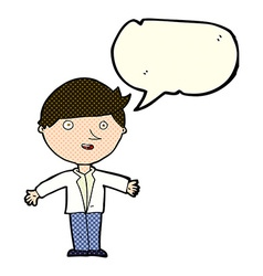 Cartoon man in casual jacket with speech bubble vector
