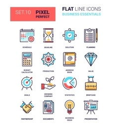 Business essentials icons vector