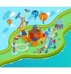 Amusement Park Isometric Cartoon Composition vector image