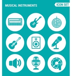 Set of round icons white musical instruments vector