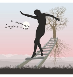 A woman on a ladder to flying tree vector image vector image
