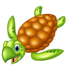 Adorable sea turtle isolated on white background vector image vector image