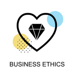 Business ethics icon with diamond and heart on vector