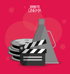 Cinema film clapper reel symbol vector