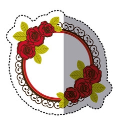 Color round emblem with oval roses icon vector