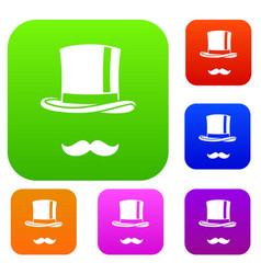 cylinder and moustaches set collection vector image vector image