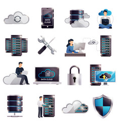 datacenter hosting server cloud set vector image vector image