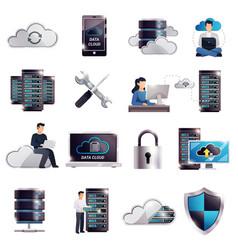 Datacenter hosting server cloud set vector