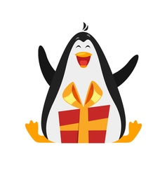 flat style of penguin with gift vector image vector image