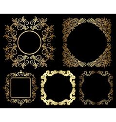 gold floral vintage frames - set vector image