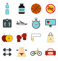 healthy life set flat icons vector image