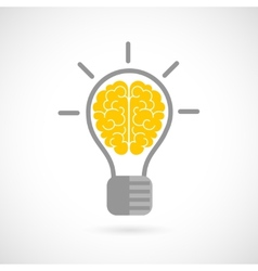 Human brain in lightbulb flat vector