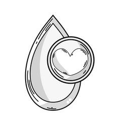 line blood drop to medical donation symbol vector image vector image