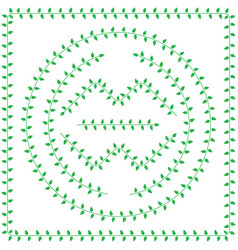 pattern brush from green leaves vector image vector image