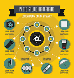 Photo studio infographic concept flat style vector