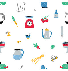 seamless pattern with colorful hand drawn kitchen vector image