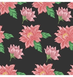 Seamless pattern with red flowers on a dark vector