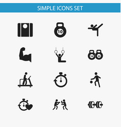 Set of 12 editable fitness icons includes symbols vector