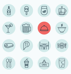 Set of 16 meal icons includes dining lolly vector